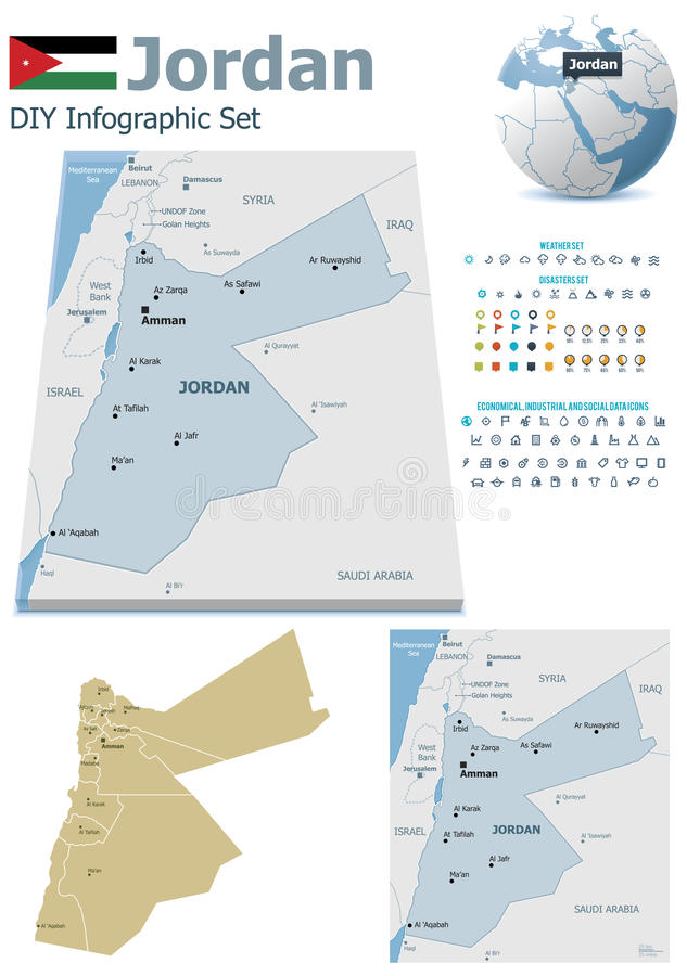 Jordan maps with markers. Set of the political Jordan maps, markers and symbols for infographic stock illustration