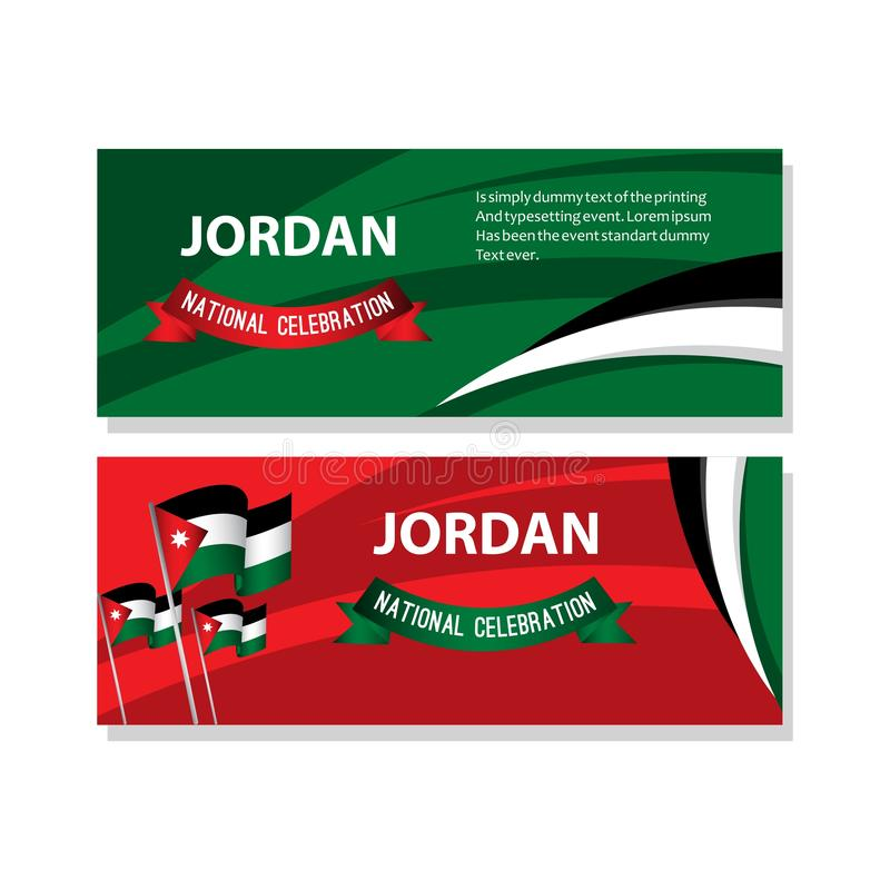 Jordan National Celebration Poster Vector Template Design Illustration. Day independence flag symbol arabic background happy card holiday red country white royalty free illustration