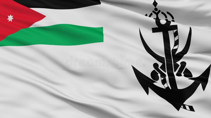 Jordan Naval Ensign Flag Closeup-Mening royalty-vrije illustratie