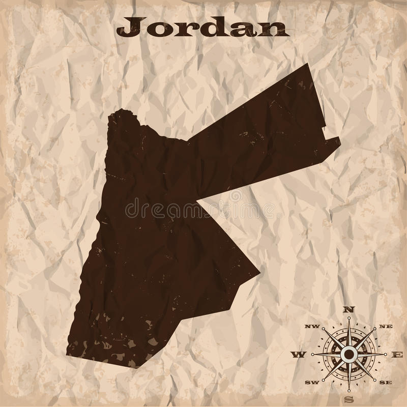 Jordan old map with grunge and crumpled paper. Vector illustration vector illustration