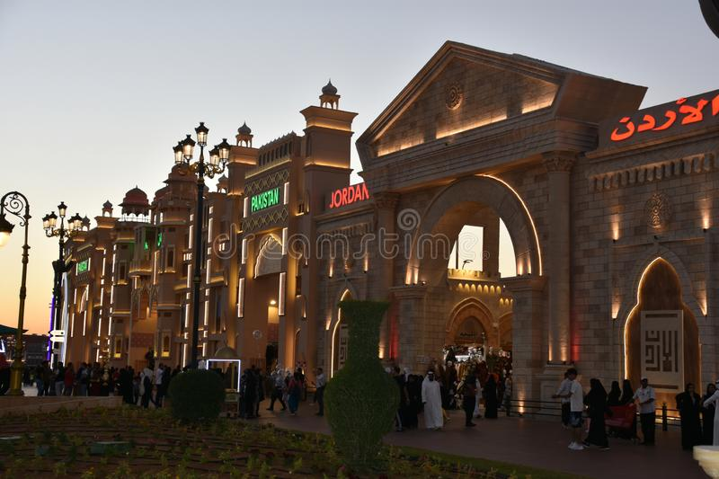 Jordan and Pakistan pavilion at Global Village in Dubai, UAE. As seen on Dec 11, 2018. It is claimed to be the world`s largest tourism, leisure and royalty free stock photo