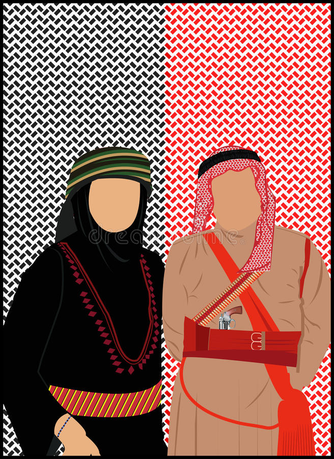 Jordan & Palestine Stand. Its about Jordanian and Palestinian dress its Jordan and Palestine traditional royalty free illustration