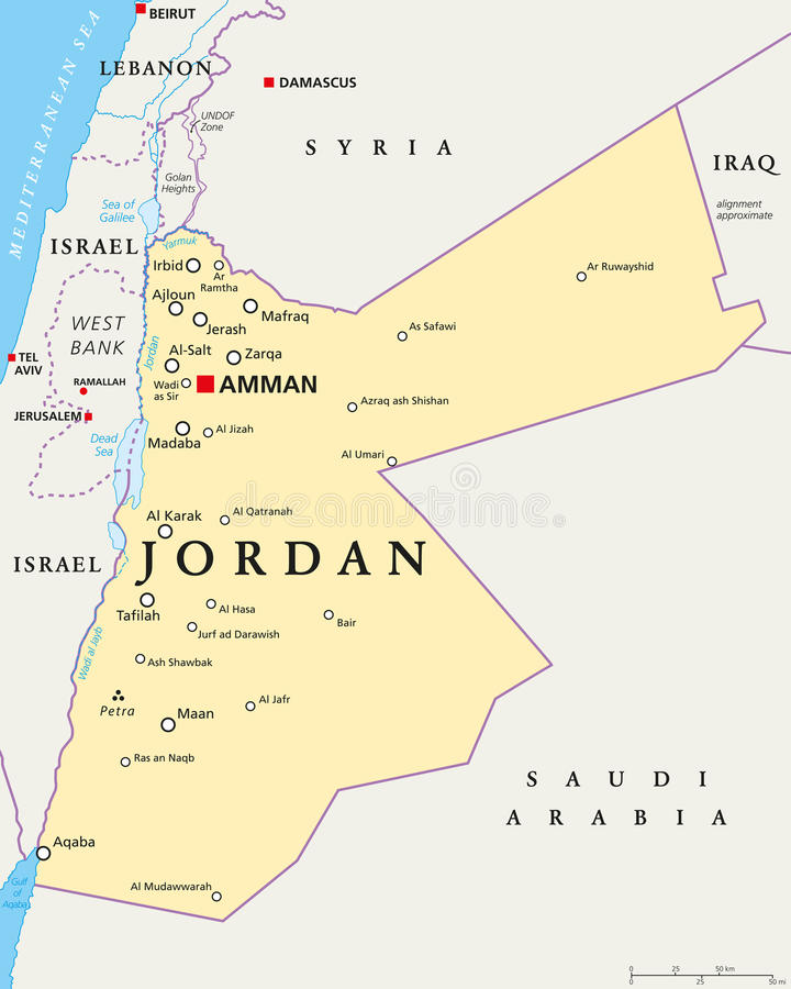 Jordan Political Map vector illustratie
