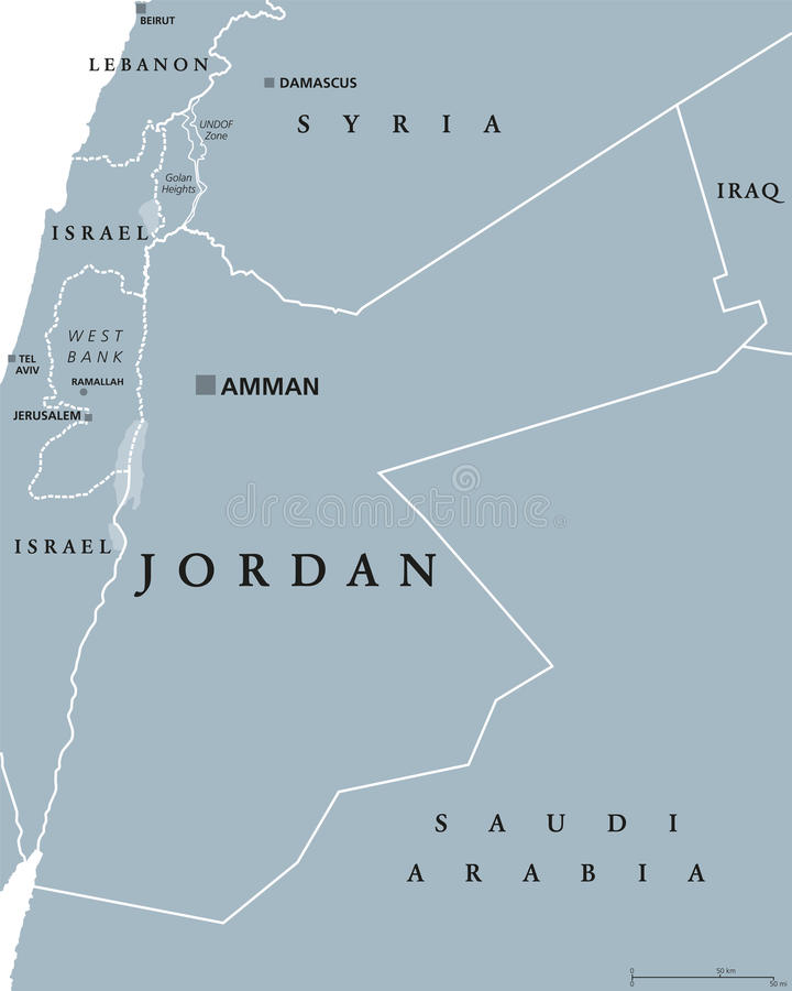 Jordan Political Map libre illustration