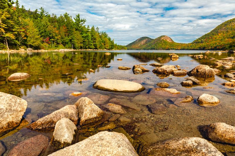 Jordan Pond in Acadia Nantional Park, Maine royalty free stock images