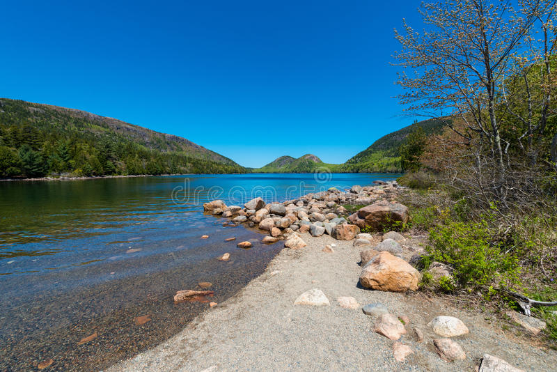 Jordan Pond en parc national d'Acadia, Maine image stock