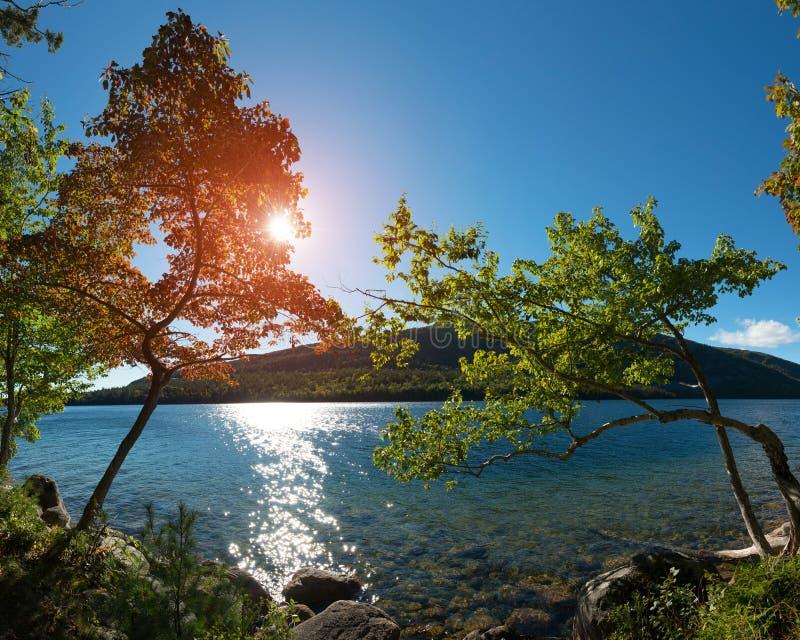 Jordan Pond no parque nacional do Acadia fotografia de stock royalty free