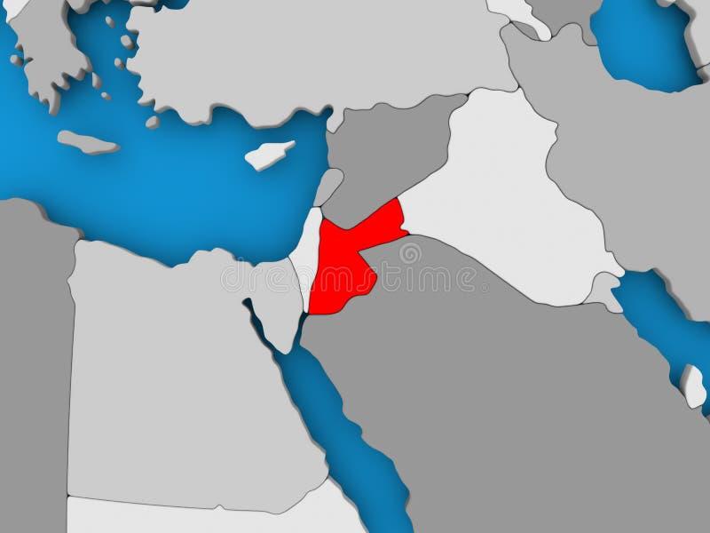 Map of Jordan. Jordan in red on political map. 3D illustration vector illustration