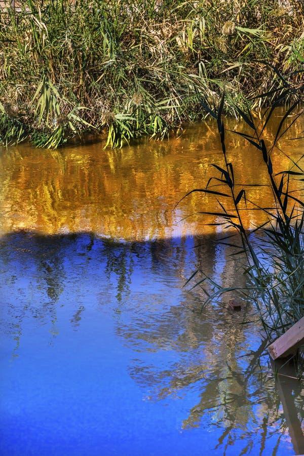 Jordan River Abstract Near Bethany Betharaba, wo John Jesus Jordan taufte lizenzfreies stockfoto
