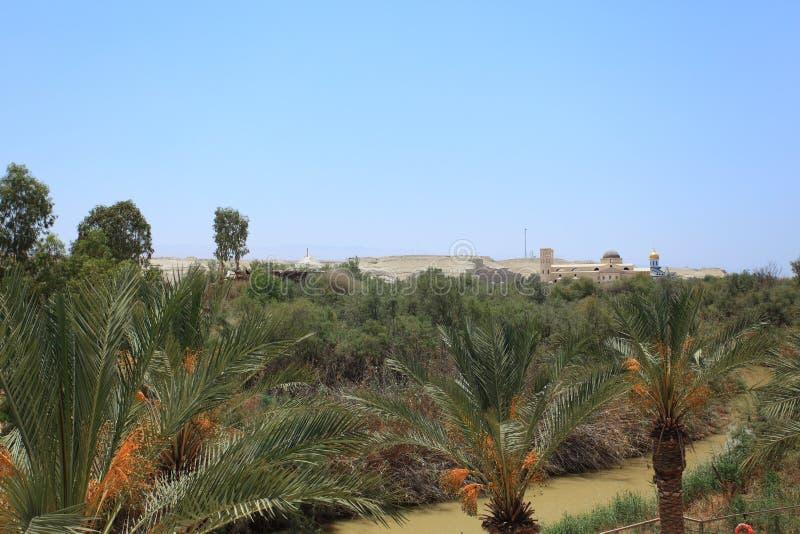 Jordan River, Palmen & Jordan Landscape royalty-vrije stock afbeeldingen