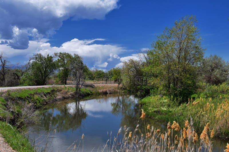 Jordan River Parkway Trail, s?quoia Trailhead encadrant la tra?n?e de route express de legs, les vues de panorama avec les arbres images stock