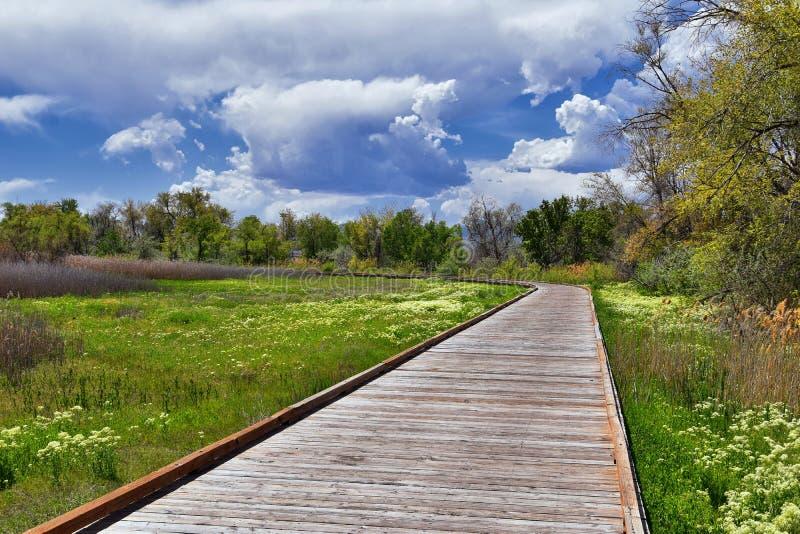 Jordan River Parkway Trail, secoya Trailhead que confina el rastro de la ruta verde de la herencia, opiniones del panorama con lo foto de archivo