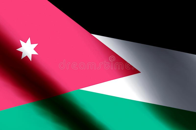 Jordan. Stylish waving and closeup flag illustration. Perfect for background or texture purposes vector illustration