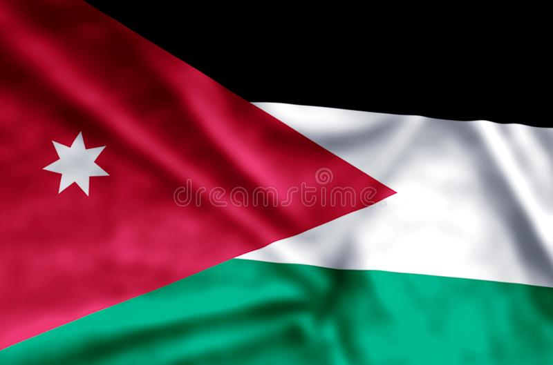 Jordan. Stylish waving and closeup flag illustration. Perfect for background or texture purposes royalty free illustration