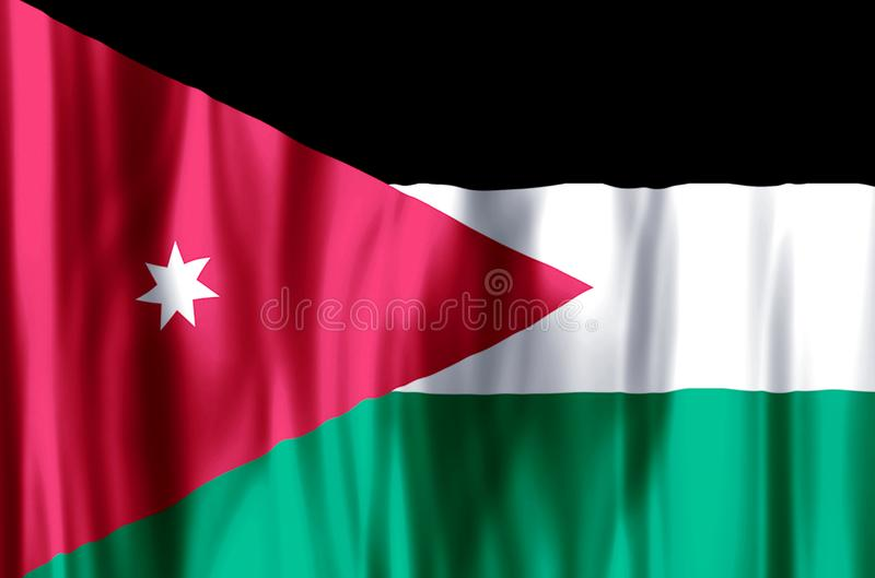 Jordan. Stylish waving and closeup flag illustration. Perfect for background or texture purposes stock illustration