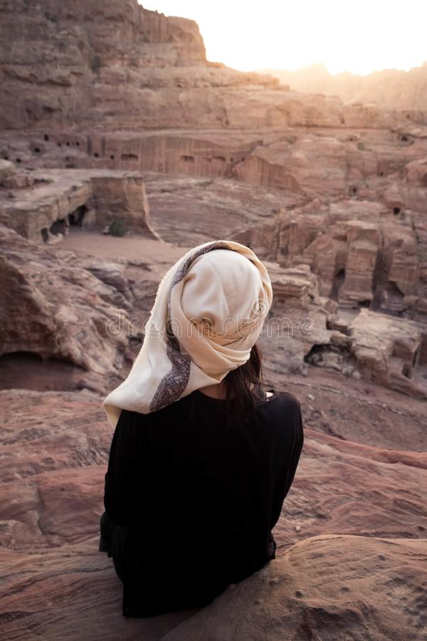 Jordan - sunset above 2000 years old rock city Petra stock images