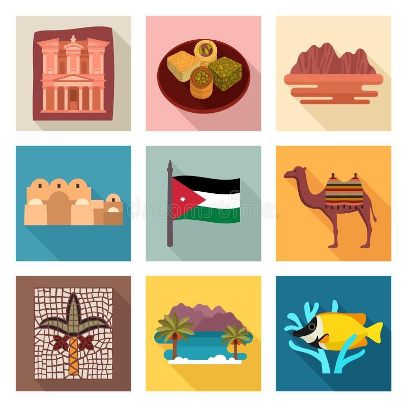 Jordan travel icons. Jordan culture travel icons vector illustration