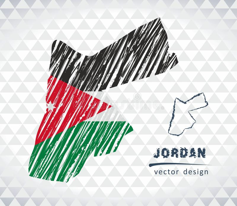 Jordan vector map with flag inside isolated on a white background. Sketch chalk hand drawn illustration. Vector sketch map of Jordan with flag, hand drawn chalk stock illustration