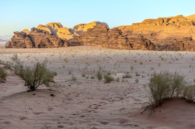 Jordan Wadi Rum landscapes, Desert Tourist Location. Wadi Rum Jordan, Camping, Camels, Site Seeing, Desert, 4x4 Driving, tourist location royalty free stock images