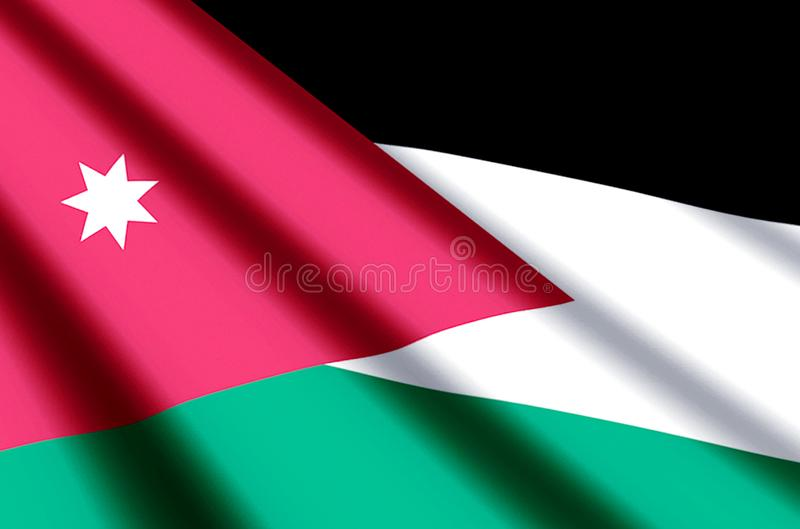 Jordan. Waving and closeup flag illustration. Perfect for background or texture purposes stock illustration