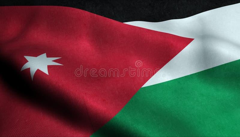Jordan Waving Flag i 3D royaltyfri illustrationer