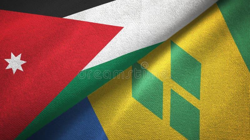 Jordanië en Heilige Vincent en Grenadines twee vlaggen textieldoek vector illustratie