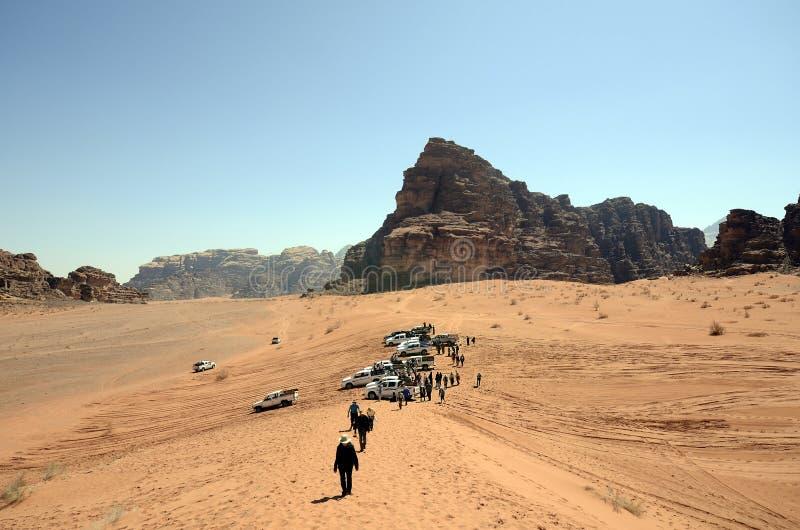 Jordanië, landschap in Wadi Rum stock foto
