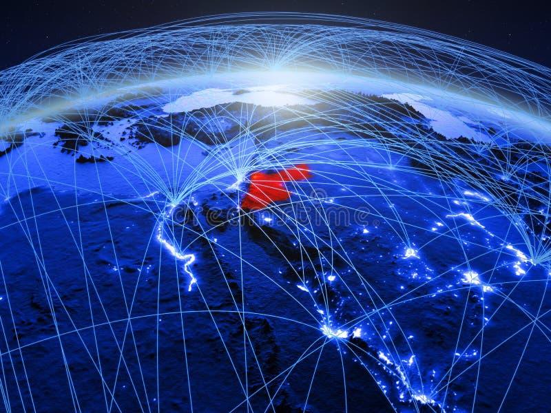 Jordanië op blauwe digitale aarde met internationaal netwerk die mededeling, reis en verbindingen vertegenwoordigen 3D Illustrati royalty-vrije stock foto