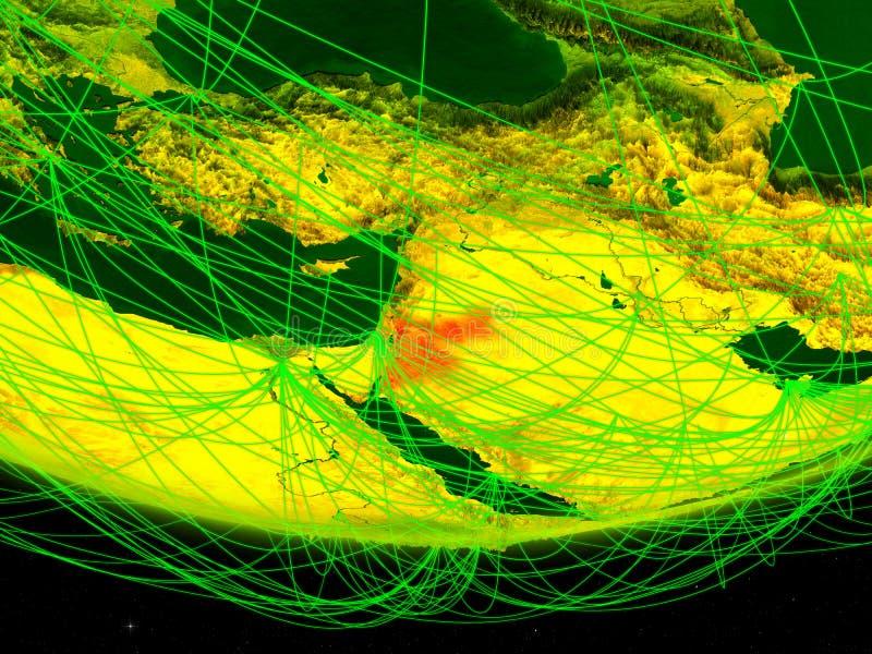 Jordanië op groen model van aarde met netwerk die digitaal tijdperk, reis en mededeling vertegenwoordigen 3D Illustratie elemente royalty-vrije stock foto's