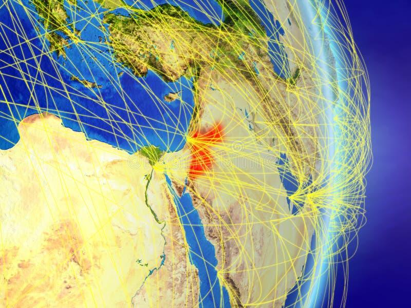 Jordanië op planeetaarde met netwerk Concept connectiviteit, reis en mededeling 3D Illustratie Elementen van dit stock afbeeldingen