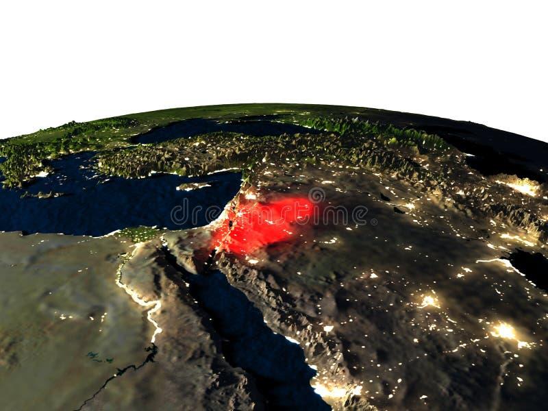 Jordanië van ruimte bij nacht stock illustratie