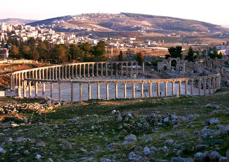 Jordania, Amman, Gerasa, Jerash dziura i maksymalny oset, fotografia royalty free
