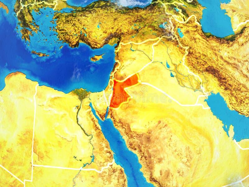 Jordania en la tierra del espacio ilustración del vector