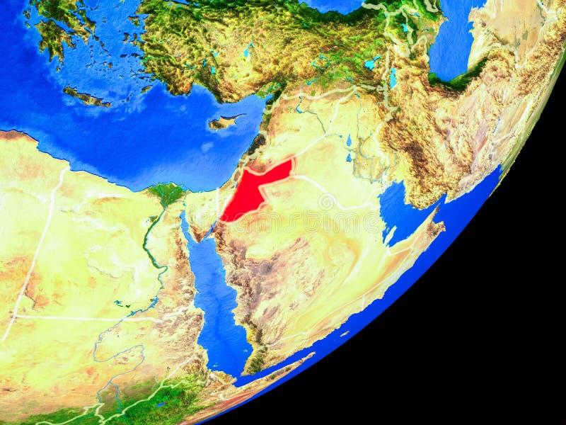 Jordania en la tierra del espacio stock de ilustración