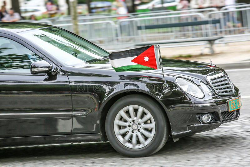 Jordanian Diplomatic car during Military parade (Defile) in Republic Day (Bastille Day). Champs Ely stock photos