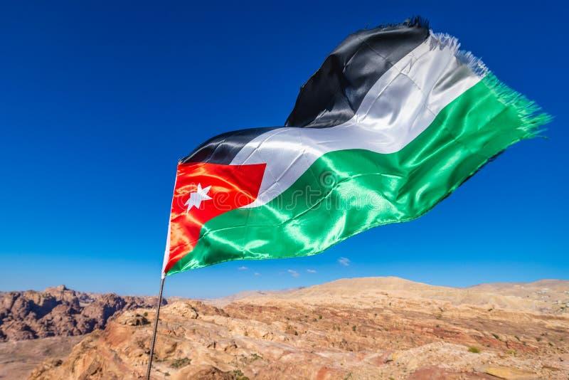 Jordanian flag in Petra stock photos