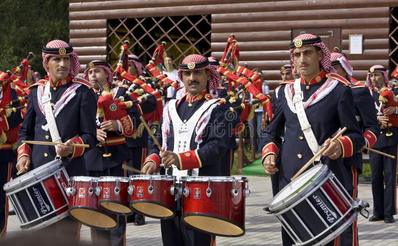 Jordanian military orchestra, festival stock images
