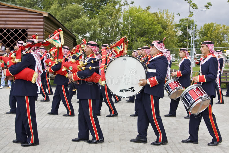 Jordanian military orchestra, festival stock photo