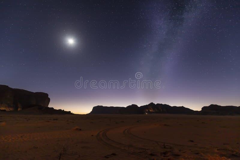 Jordanian nights. Milky way in Wadi Rum desert royalty free stock images