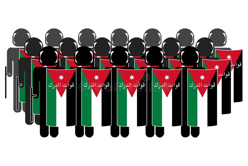 Jordanian Riot Police. Silhouette of Jordanian Anti-Riot Police royalty free illustration