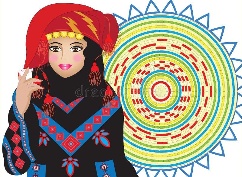 Jordanian vrouw van de folklore en een dienblad stock afbeeldingen
