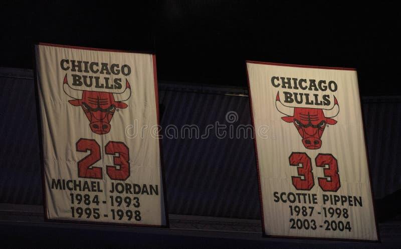 Jordanien och Pippen--Greats för Chicago Bulls fotografering för bildbyråer