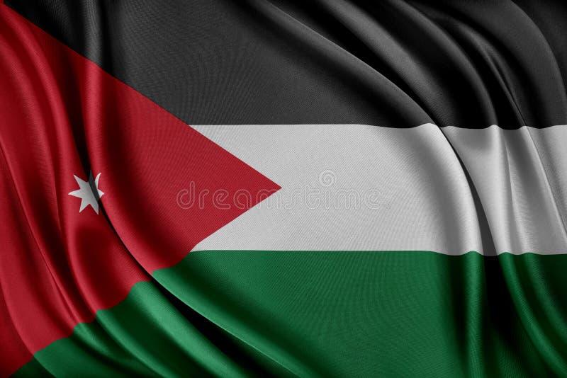 Jordanien sjunker Flagga med en glansig siden- textur stock illustrationer