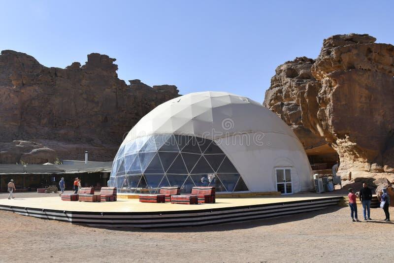 Jordanien turist- läger i Wadi Rum royaltyfri bild