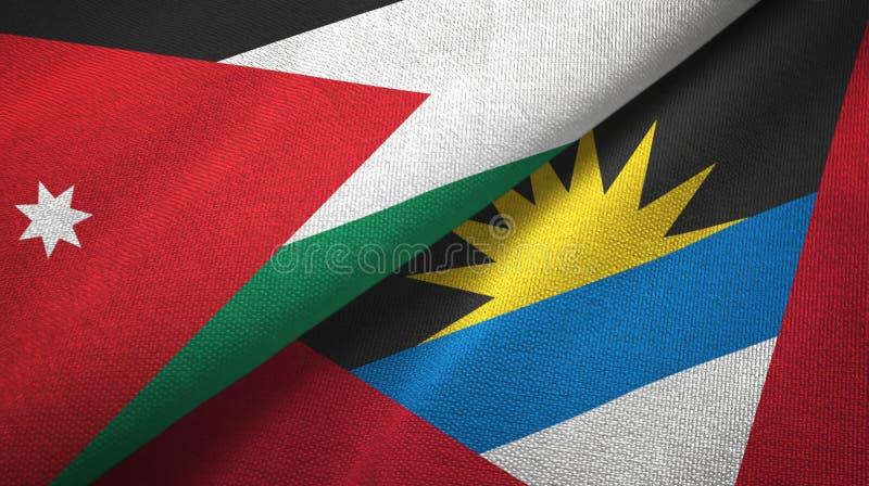 Jordanien- und Antigua und Barbuda-zwei Flaggentextilstoff, Gewebebeschaffenheit lizenzfreie abbildung