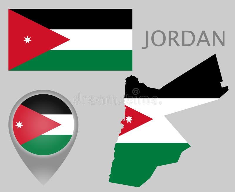 Jordanienflagga, översikt och översiktspekare stock illustrationer