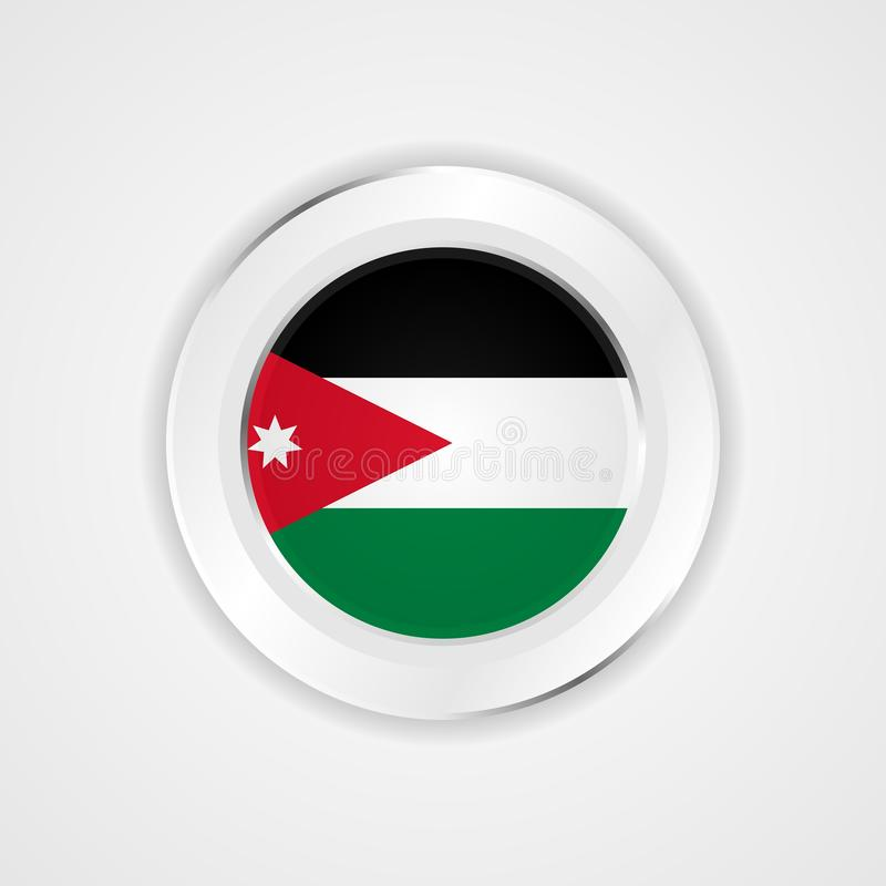 Jordanienflagga i glansig symbol stock illustrationer