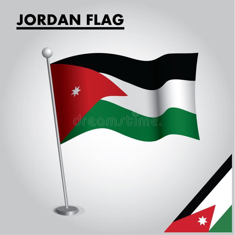 JORDANIENflagganationsflagga av JORDANIEN på en pol royaltyfri illustrationer