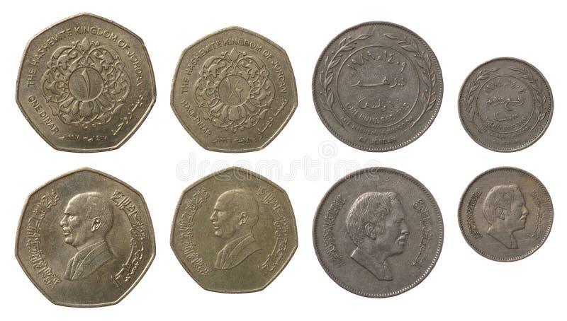 Jordanische Münzen getrennt auf Weiß lizenzfreie stockfotografie