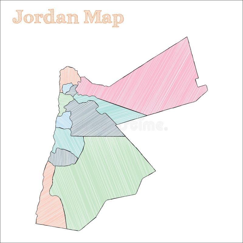Jordanowska pociągany ręcznie mapa ilustracji